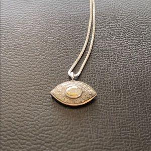 Sterling silver diamond evil eye necklace